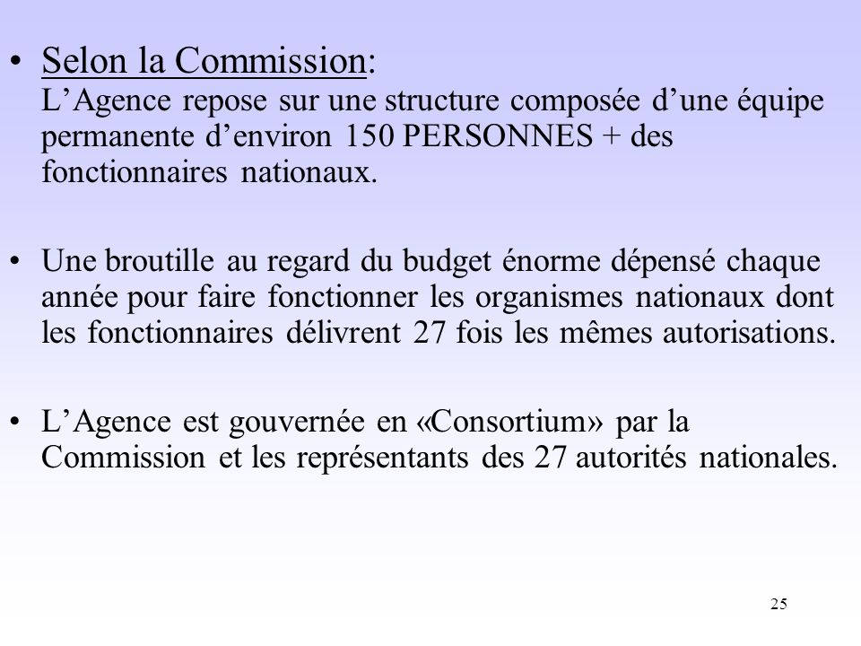 Selon la Commission: L'Agence repose sur une structure composée d'une équipe permanente d'environ 150 PERSONNES + des fonctionnaires nationaux.
