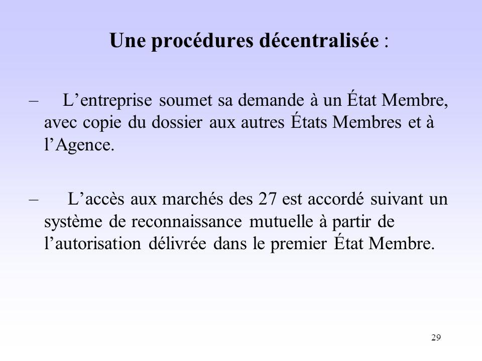 Une procédures décentralisée :