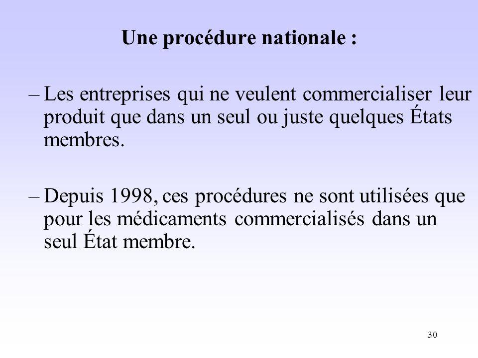 Une procédure nationale :