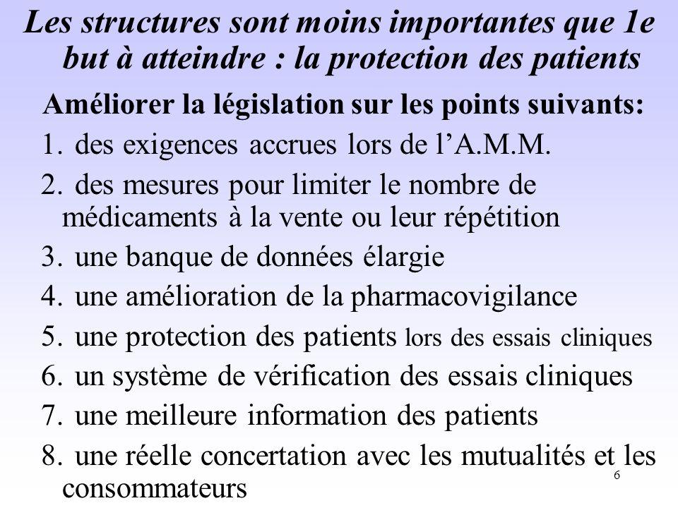 Améliorer la législation sur les points suivants: