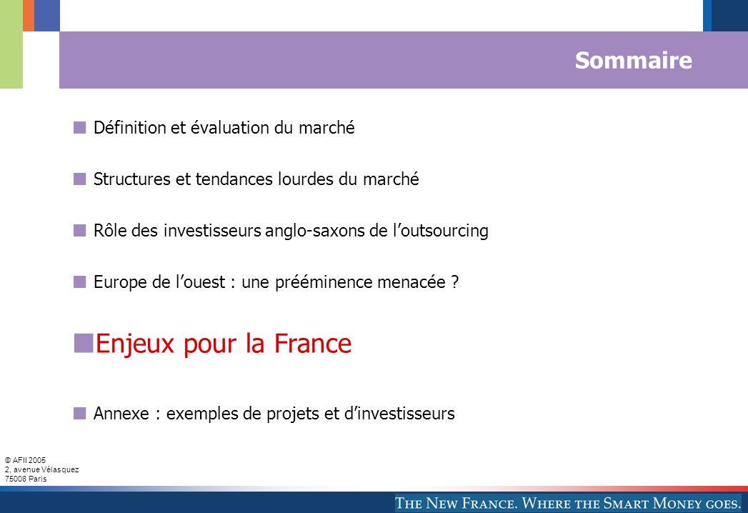 Enjeux pour la France Sommaire Définition et évaluation du marché