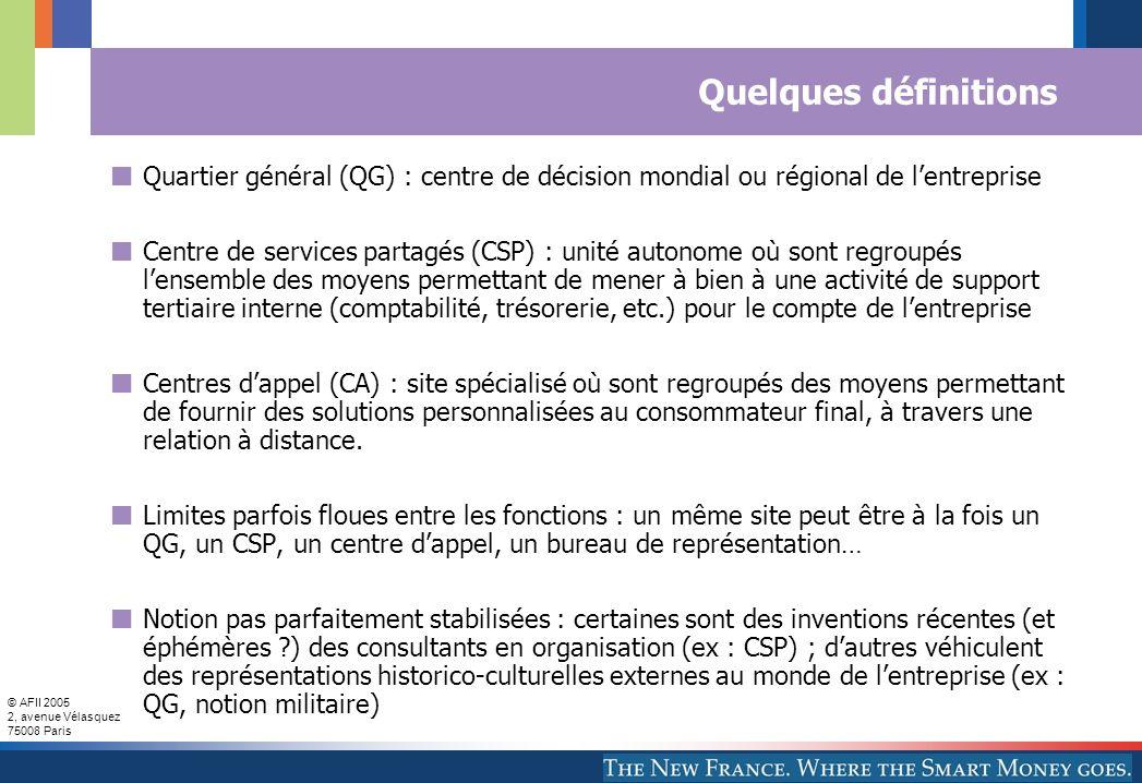Quelques définitions Quartier général (QG) : centre de décision mondial ou régional de l'entreprise.