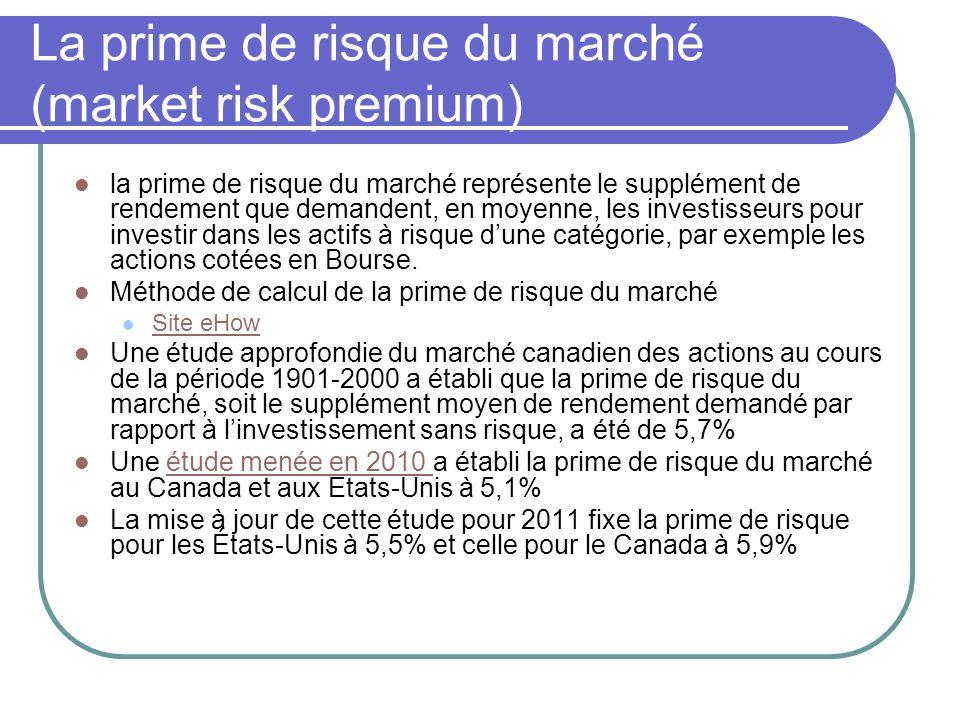 La prime de risque du marché (market risk premium)