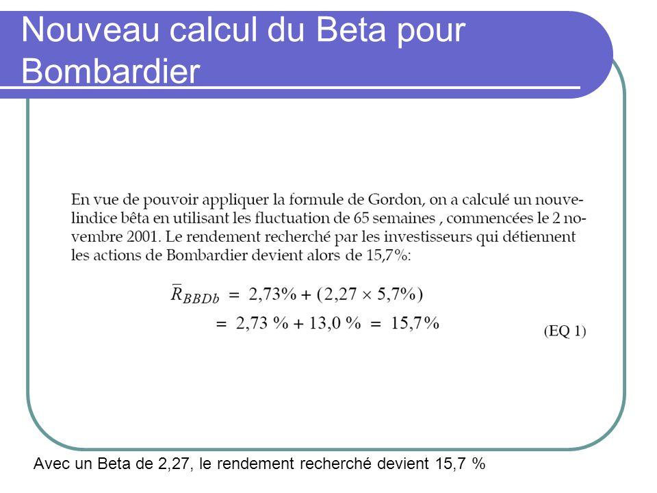 Nouveau calcul du Beta pour Bombardier