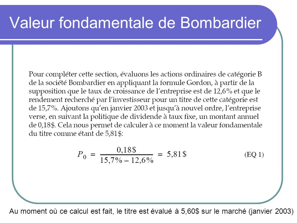Valeur fondamentale de Bombardier