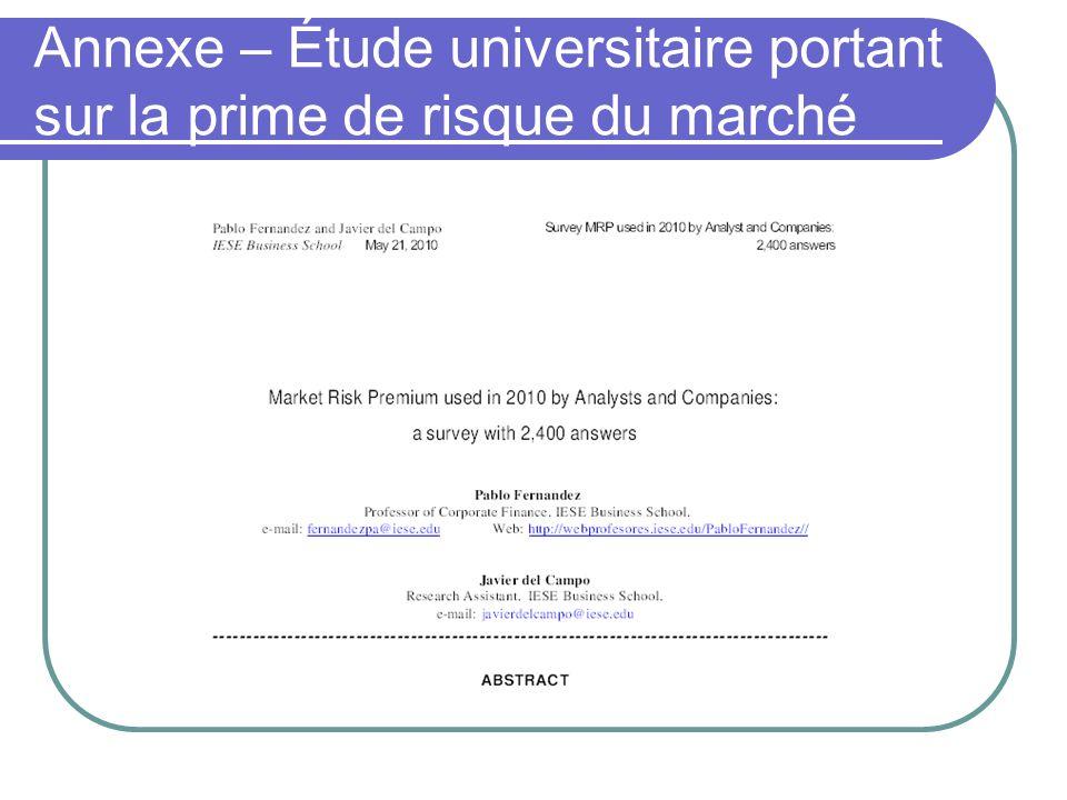 Annexe – Étude universitaire portant sur la prime de risque du marché