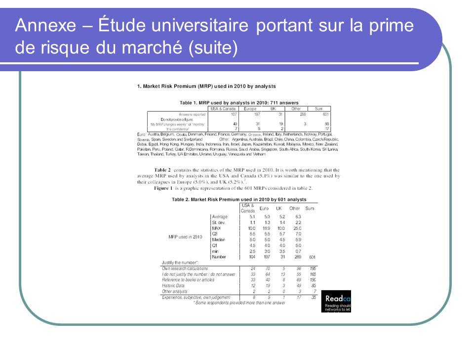 Annexe – Étude universitaire portant sur la prime de risque du marché (suite)