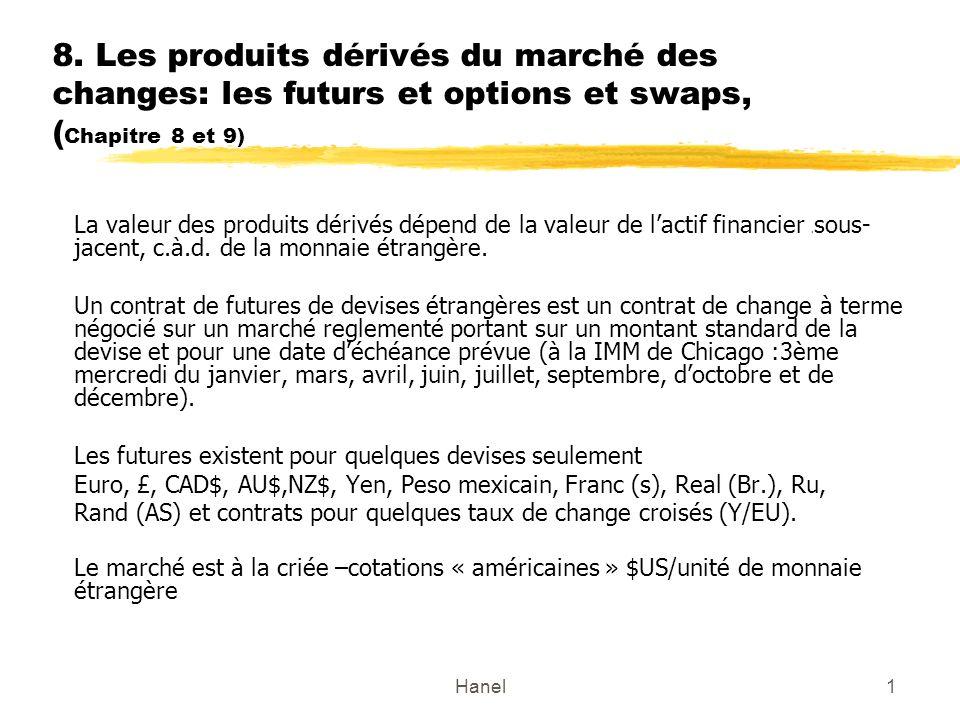 8. Les produits dérivés du marché des changes: les futurs et options et swaps, (Chapitre 8 et 9)