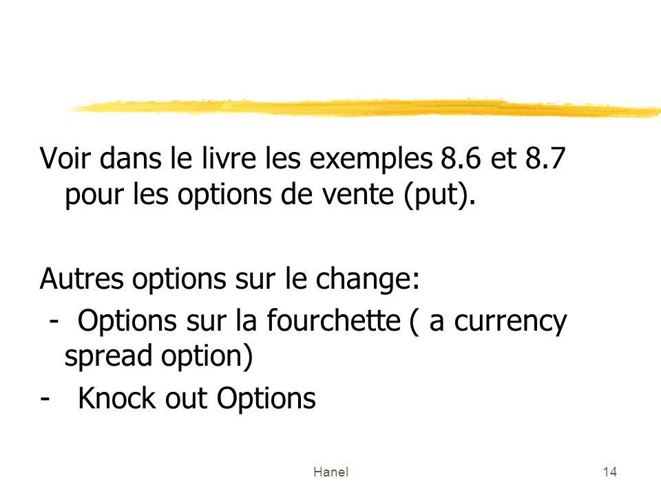 Autres options sur le change: