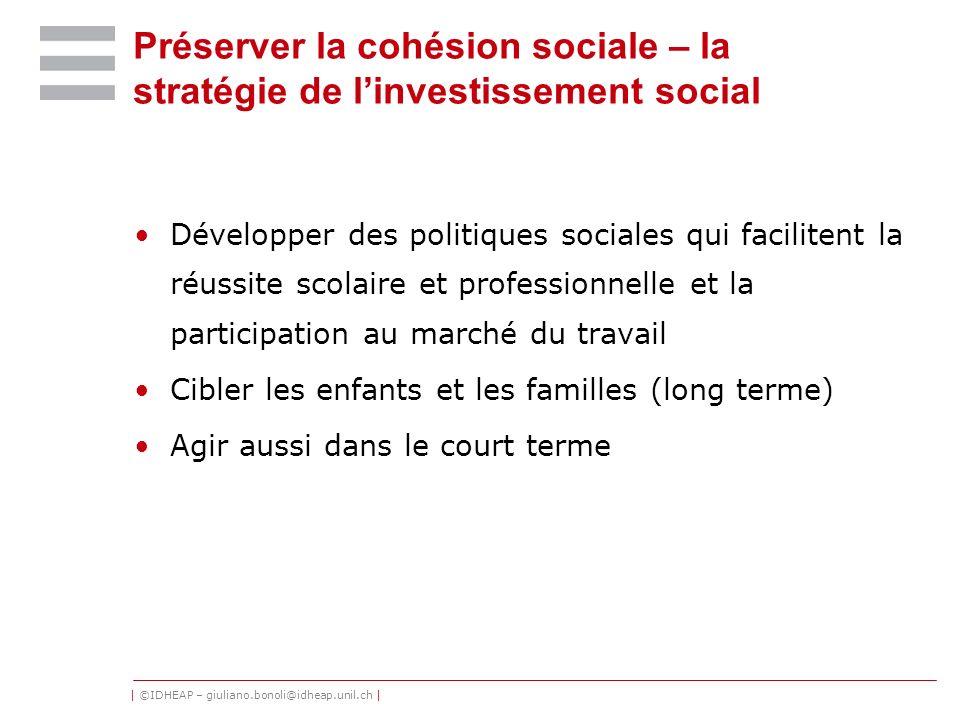 Préserver la cohésion sociale – la stratégie de l'investissement social