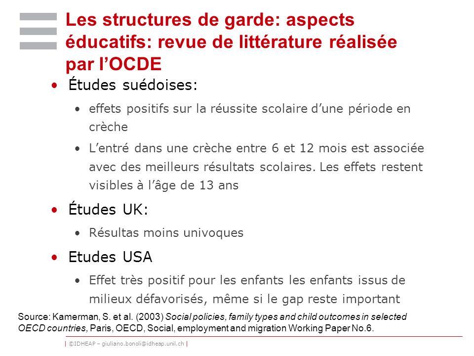 Les structures de garde: aspects éducatifs: revue de littérature réalisée par l'OCDE