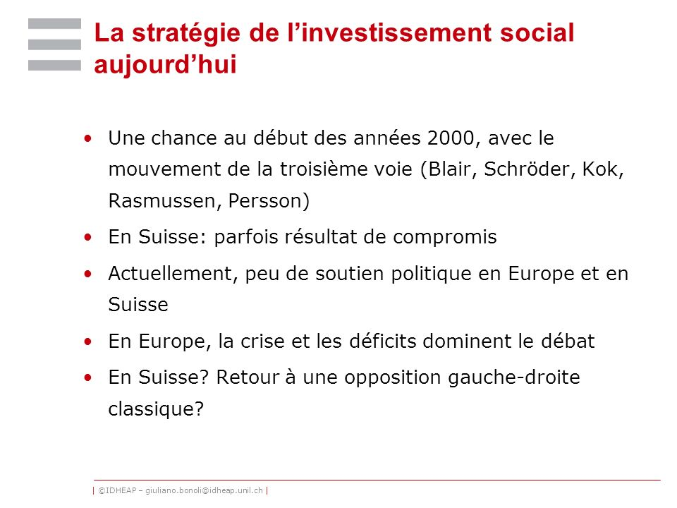 La stratégie de l'investissement social aujourd'hui