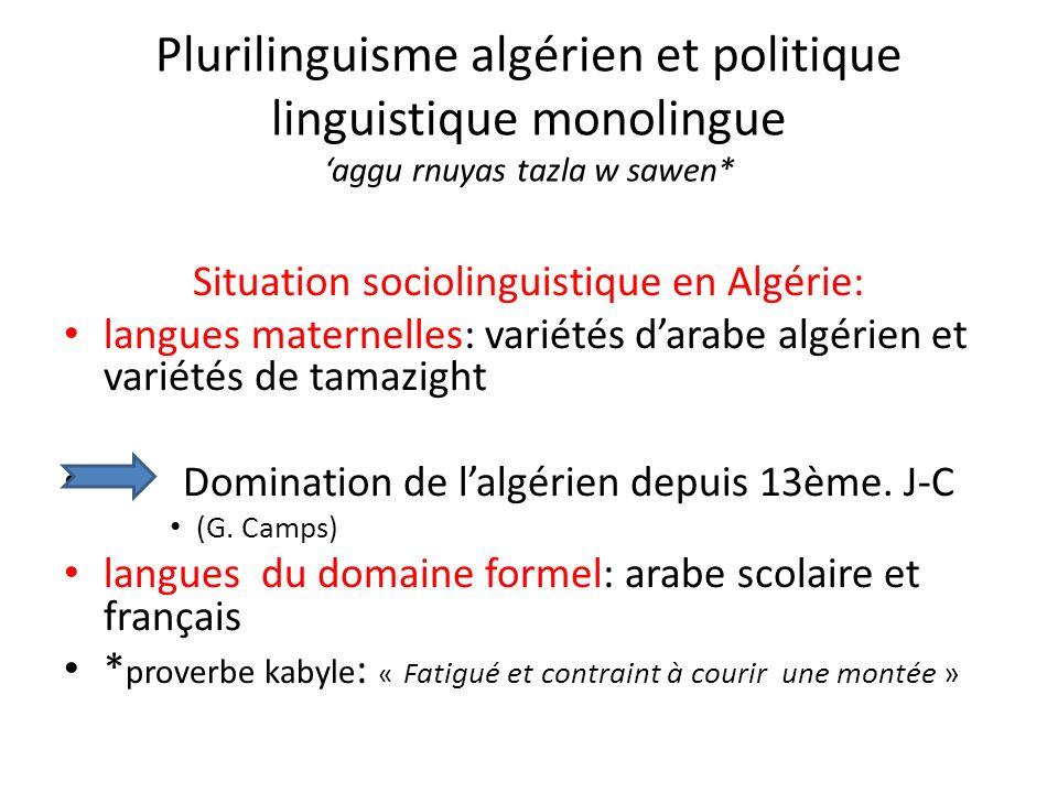 Situation sociolinguistique en Algérie: