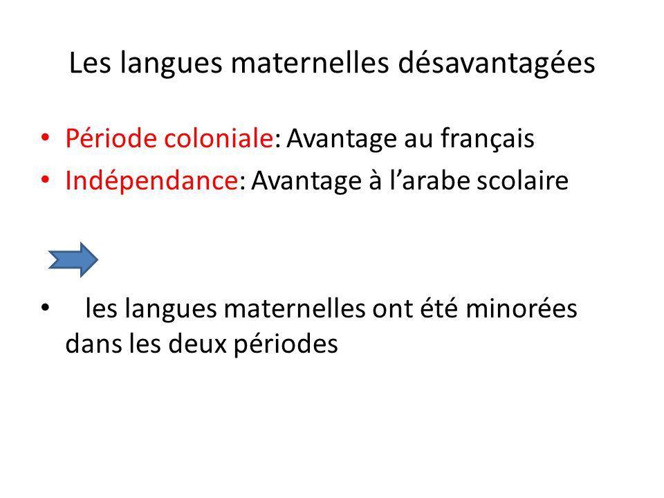 Les langues maternelles désavantagées