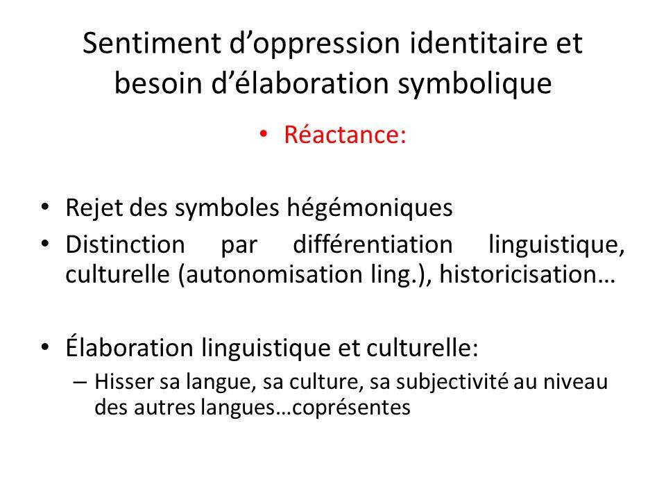 Sentiment d'oppression identitaire et besoin d'élaboration symbolique
