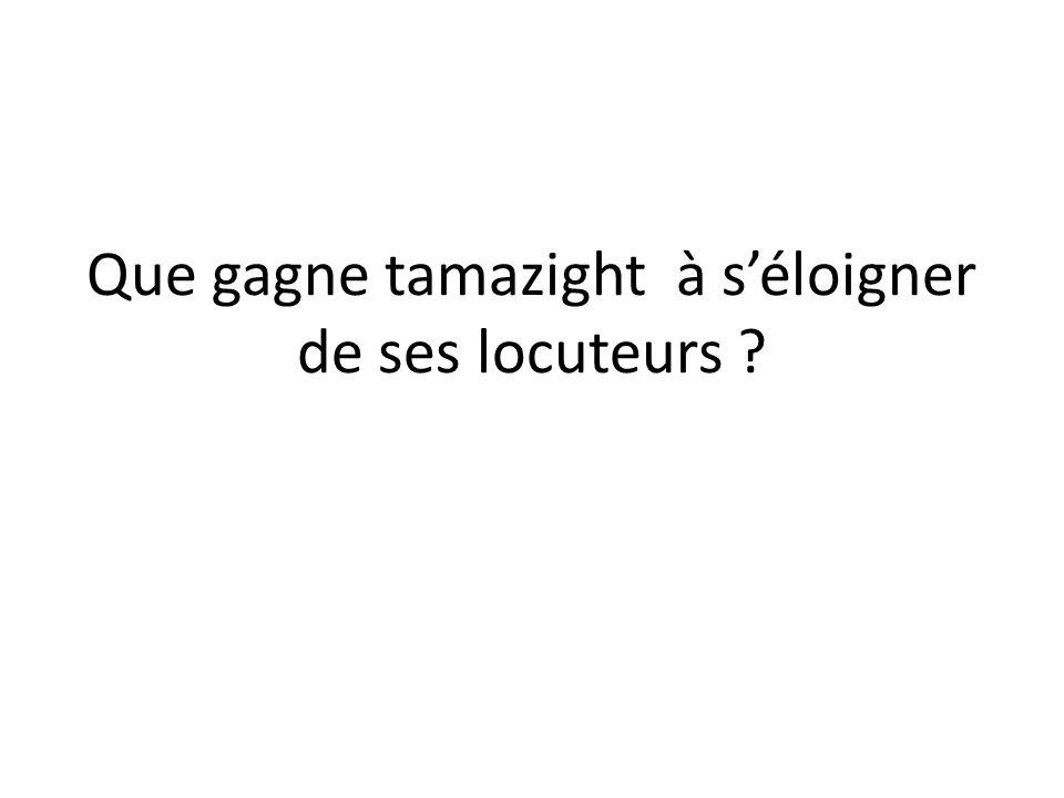 Que gagne tamazight à s'éloigner de ses locuteurs