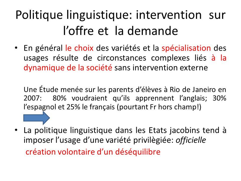 Politique linguistique: intervention sur l'offre et la demande
