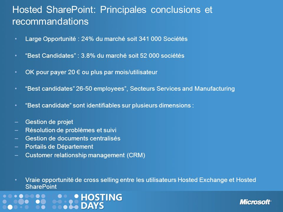 Hosted SharePoint: Principales conclusions et recommandations