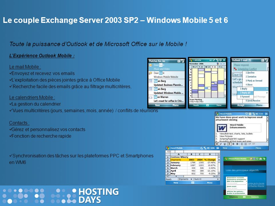 Le couple Exchange Server 2003 SP2 – Windows Mobile 5 et 6