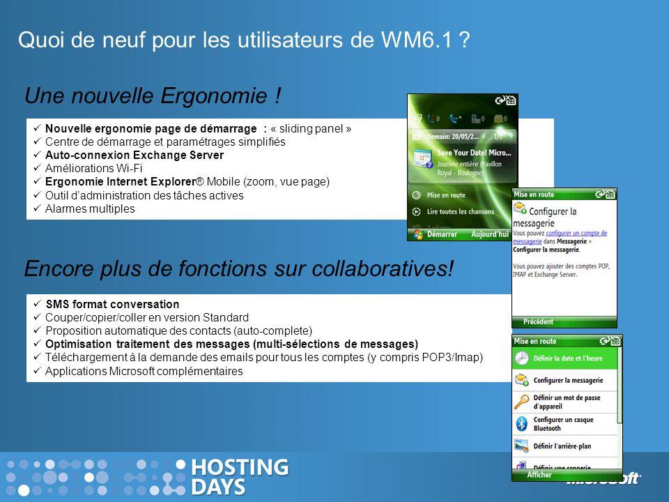 Quoi de neuf pour les utilisateurs de WM6.1