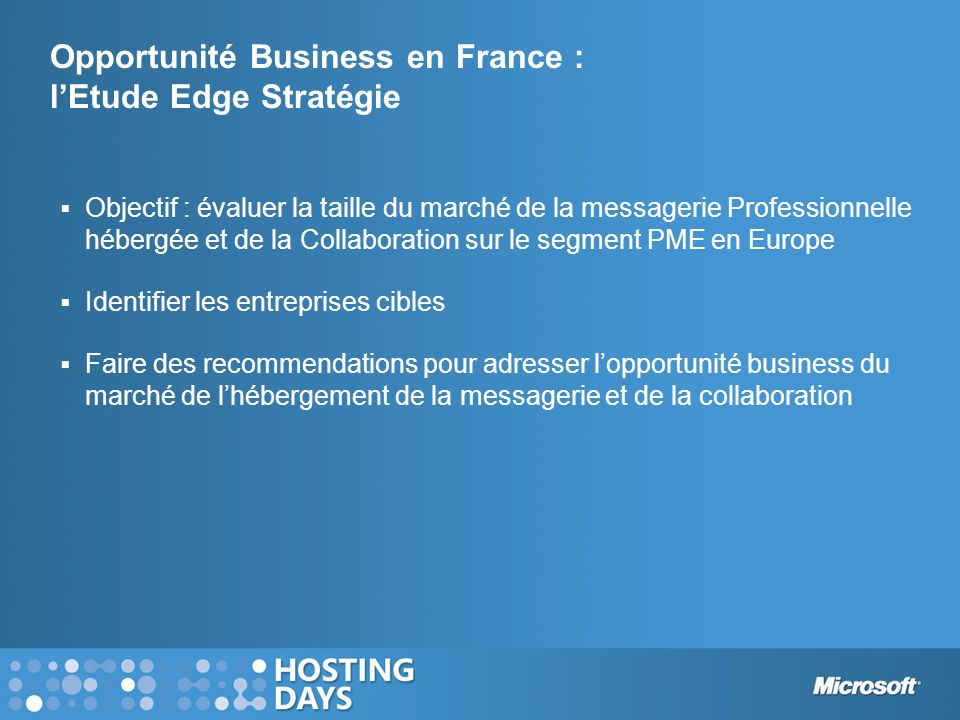 Opportunité Business en France : l'Etude Edge Stratégie