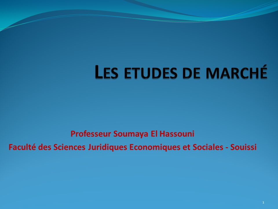 Les etudes de marché Professeur Soumaya El Hassouni