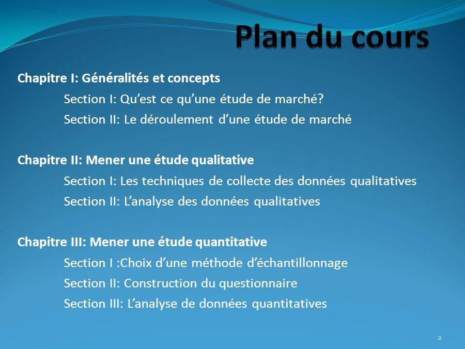Plan du cours Chapitre I: Généralités et concepts