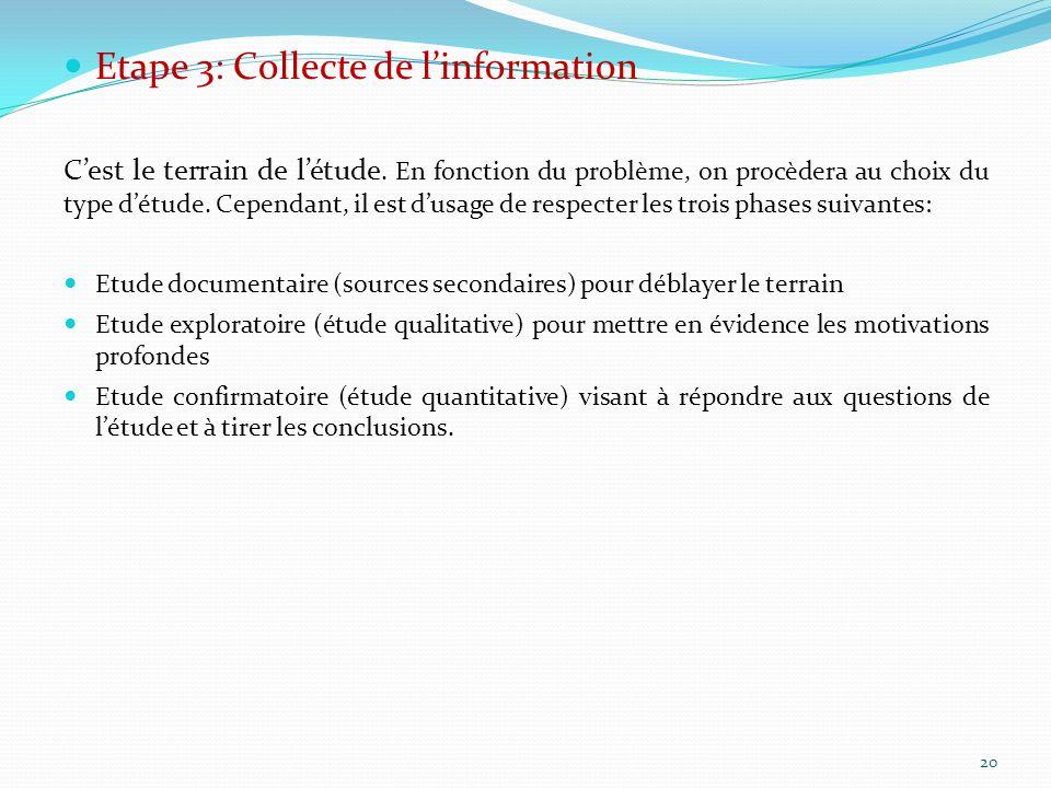 Etape 3: Collecte de l'information