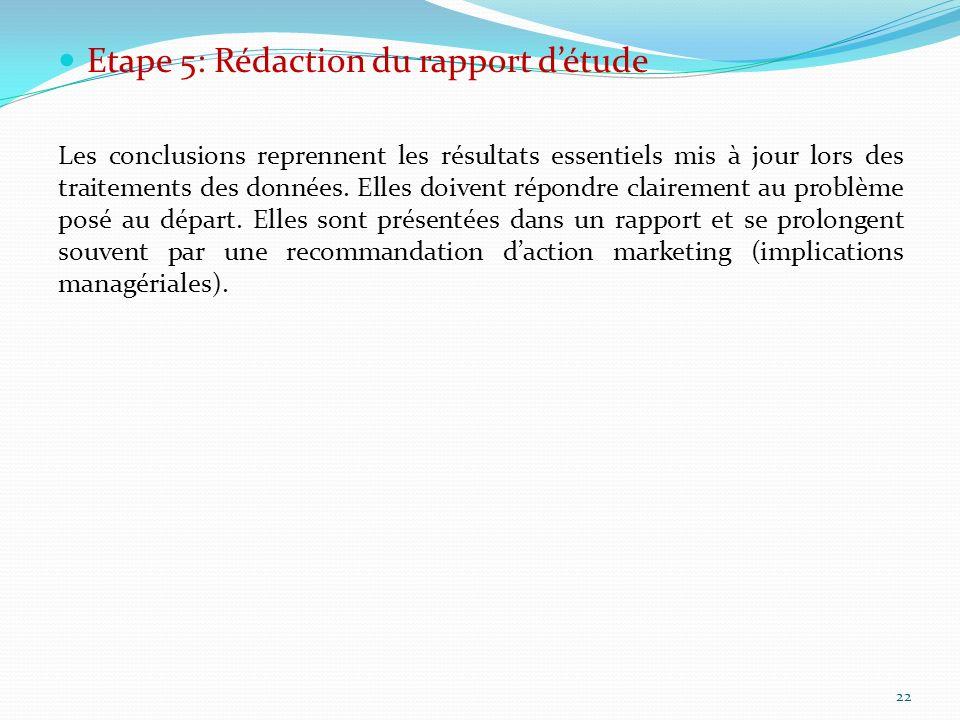 Etape 5: Rédaction du rapport d'étude