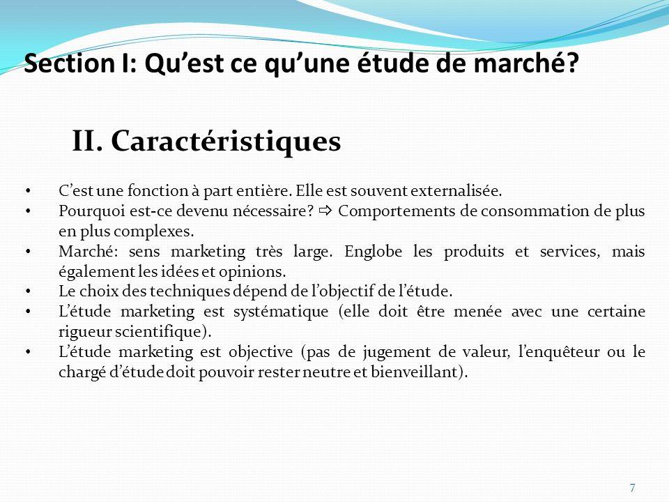 Section I: Qu'est ce qu'une étude de marché