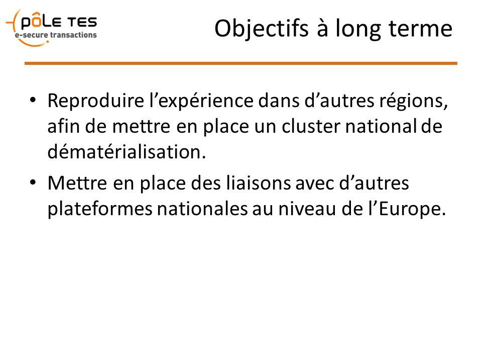Objectifs à long terme Reproduire l'expérience dans d'autres régions, afin de mettre en place un cluster national de dématérialisation.