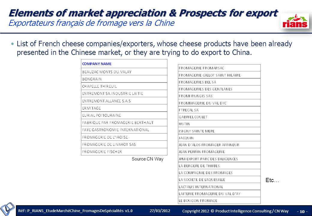 Elements of market appreciation & Prospects for export Exportateurs français de fromage vers la Chine