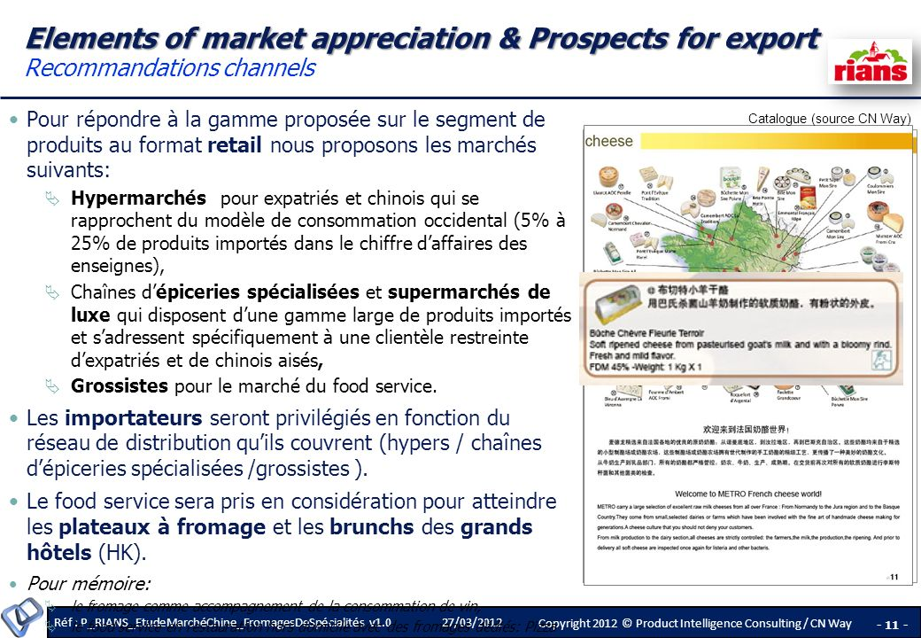 Elements of market appreciation & Prospects for export Recommandations channels