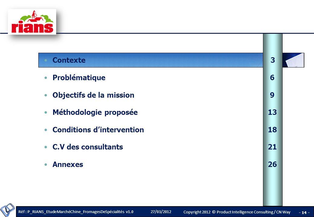 Contexte 3 Problématique 6. Objectifs de la mission 9. Méthodologie proposée 13. Conditions d'intervention 18.