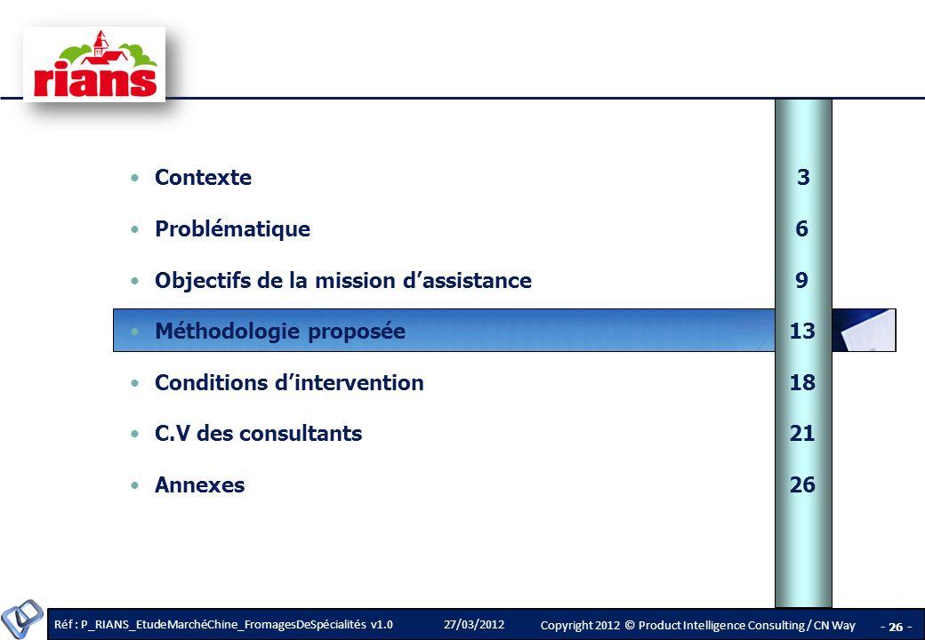 Contexte 3 Problématique 6. Objectifs de la mission d'assistance 9. Méthodologie proposée 13.
