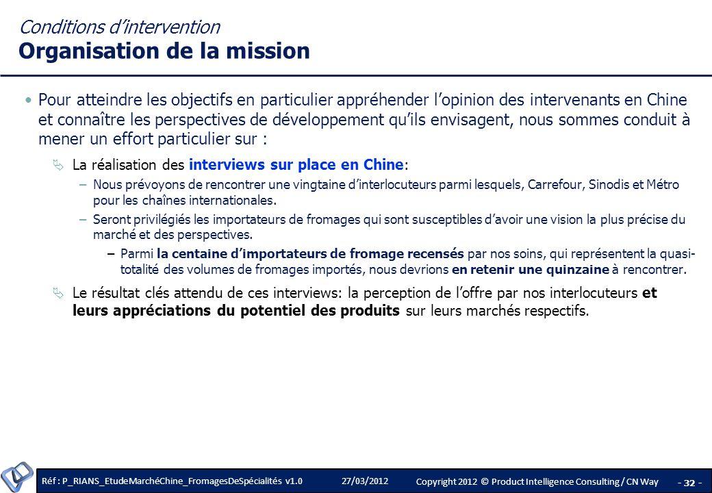 Conditions d'intervention Organisation de la mission