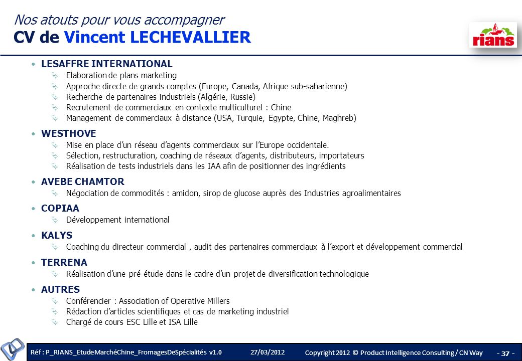 Nos atouts pour vous accompagner CV de Vincent LECHEVALLIER