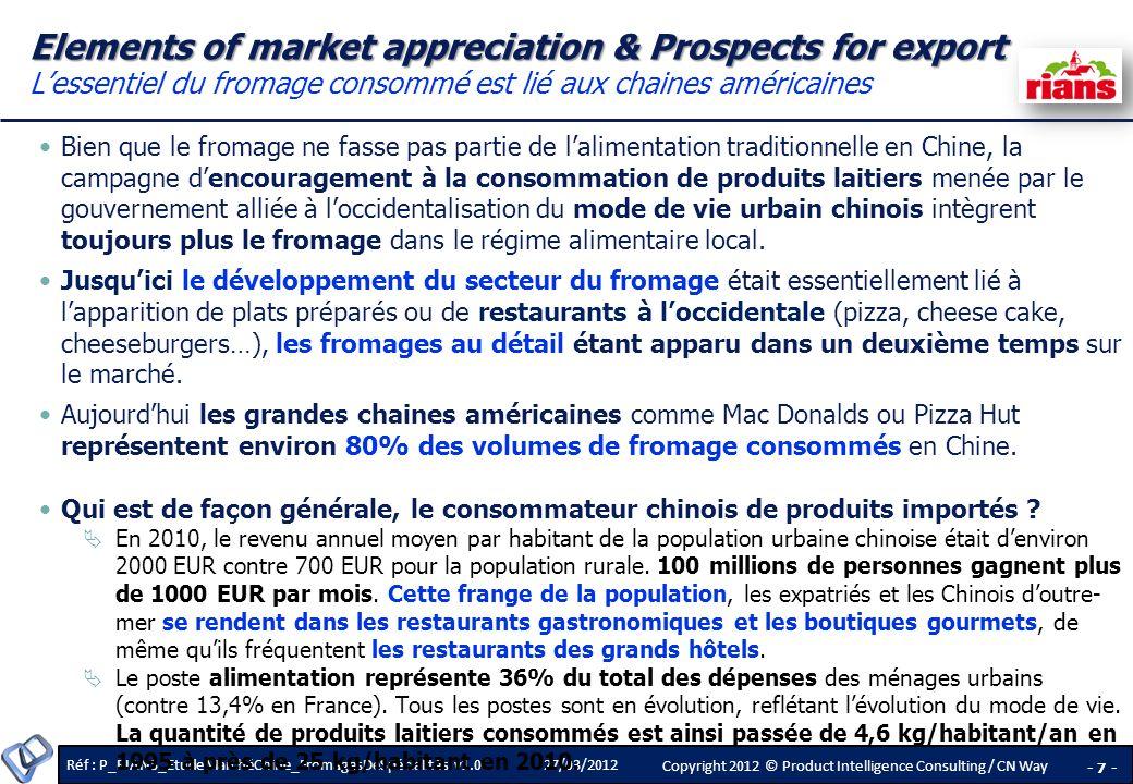 Elements of market appreciation & Prospects for export L'essentiel du fromage consommé est lié aux chaines américaines