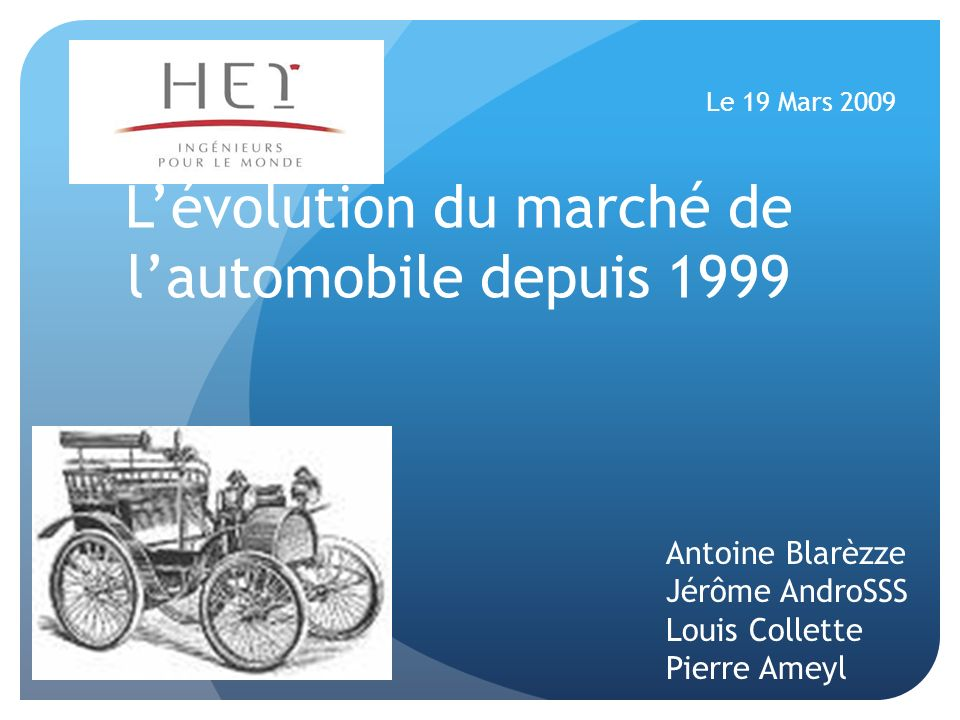 L'évolution du marché de l'automobile depuis 1999