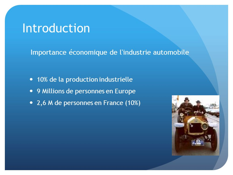 Introduction Importance économique de l industrie automobile