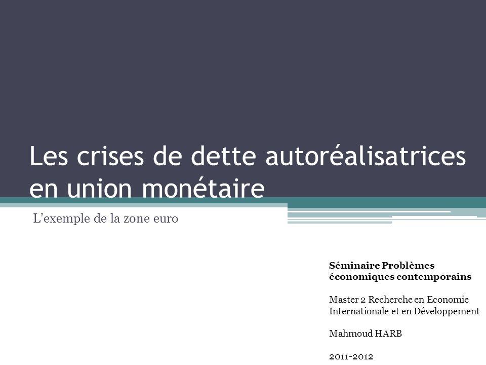 Les crises de dette autoréalisatrices en union monétaire