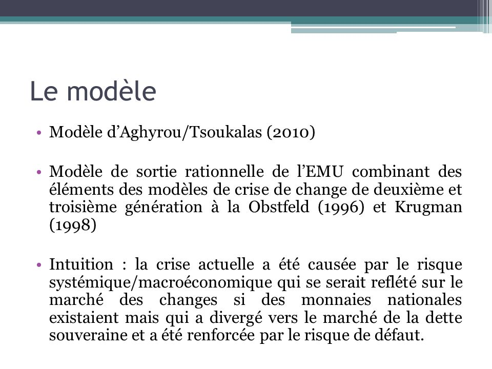 Le modèle Modèle d'Aghyrou/Tsoukalas (2010)