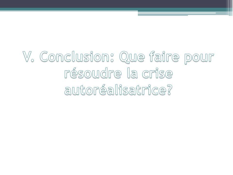 V. Conclusion: Que faire pour résoudre la crise autoréalisatrice