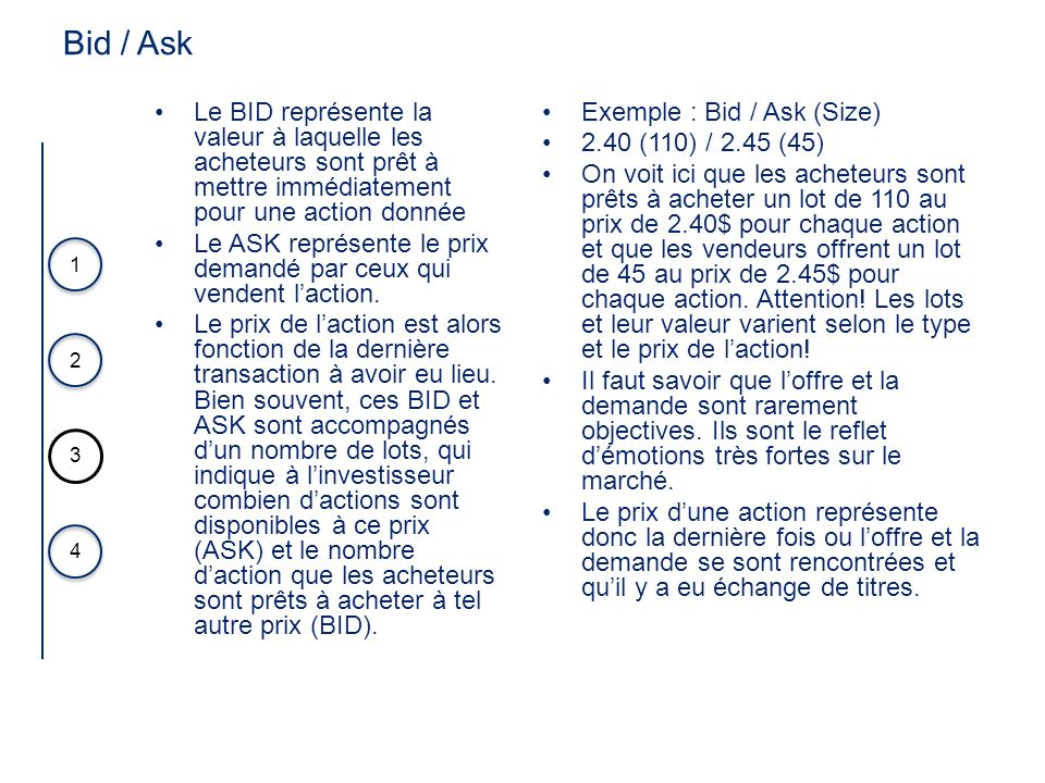 Bid / Ask Le BID représente la valeur à laquelle les acheteurs sont prêt à mettre immédiatement pour une action donnée.