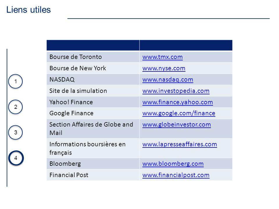 Liens utiles Bourse de Toronto www.tmx.com Bourse de New York