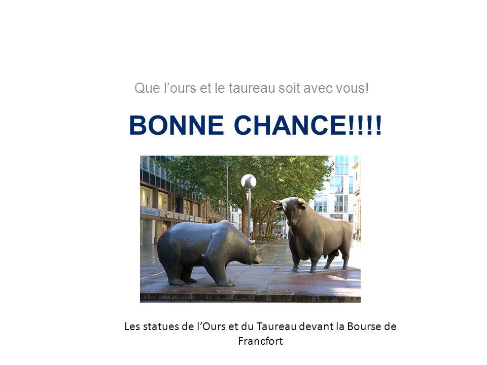 BONNE CHANCE!!!! Que l'ours et le taureau soit avec vous!