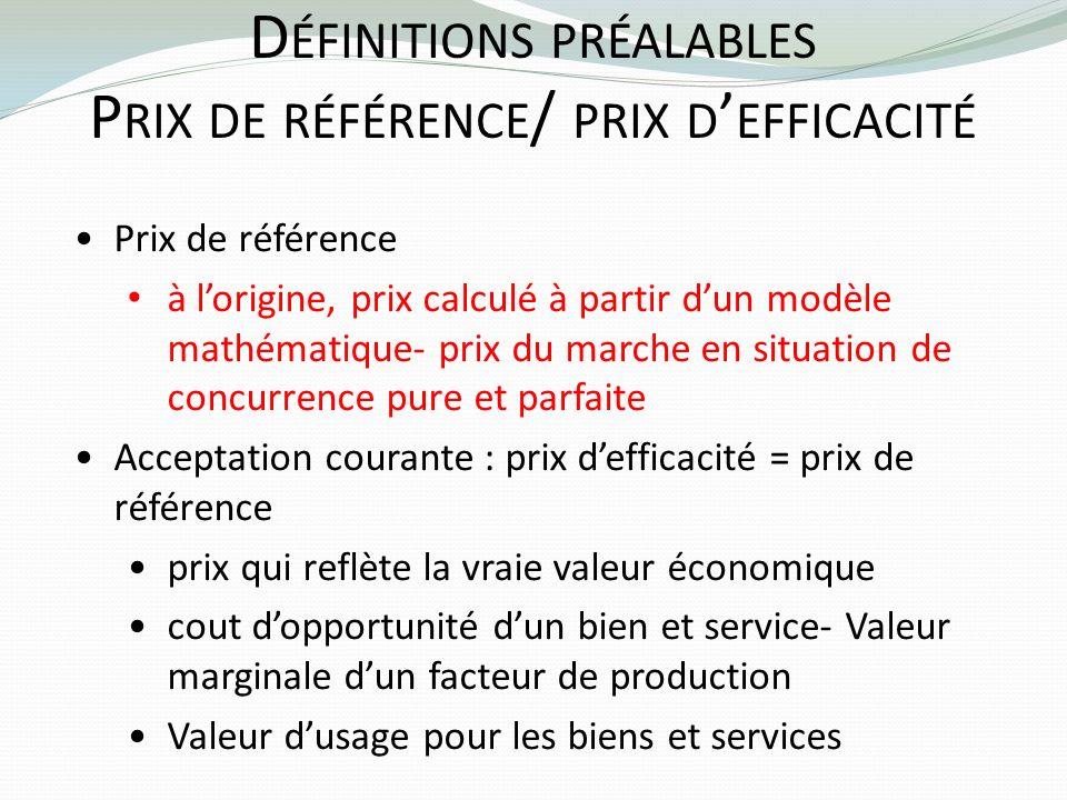 Définitions préalables Prix de référence/ prix d'efficacité