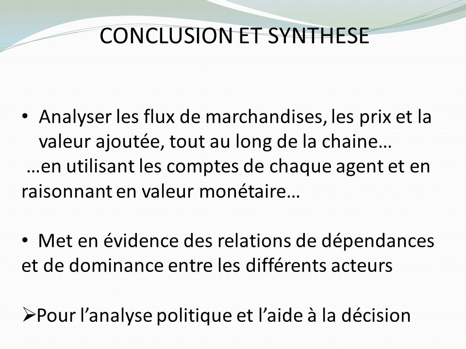 CONCLUSION ET SYNTHESE