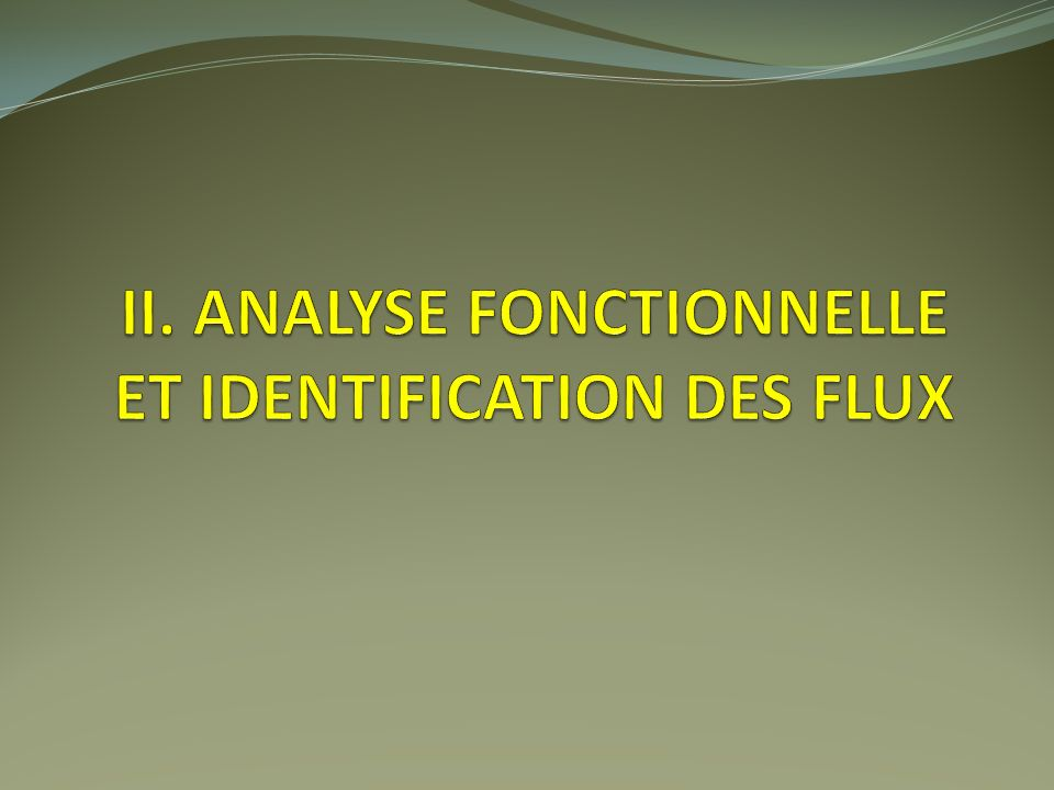 II. Analyse fonctionnelle et identification des flux