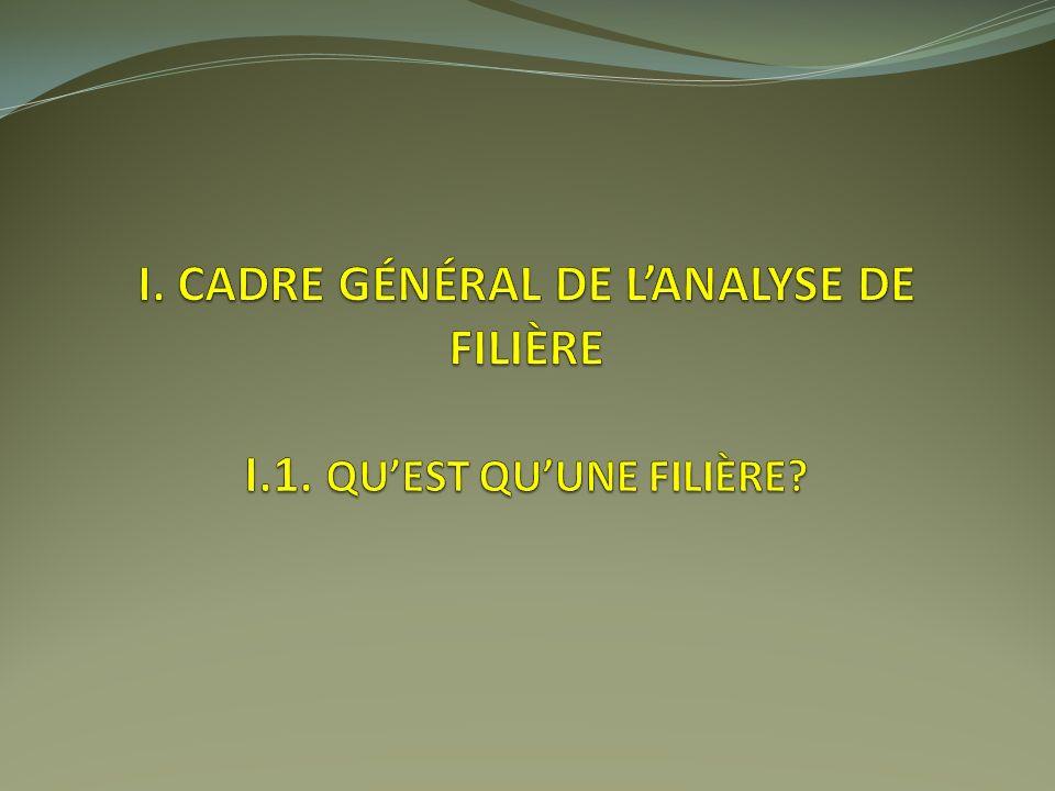 I. Cadre général de l'analyse de filière I.1. Qu'est qu'une filière
